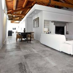 La Roche tiles offer a new style with an informal and instant opulence. Available in unusual, striking combinations, buy your tiles today from ROCCIA. Best Flooring, Grey Flooring, Flooring Options, Loft Stil, Barn Kitchen, Tapis Design, Concrete Floors, Beautiful Bedrooms, Home Interior Design