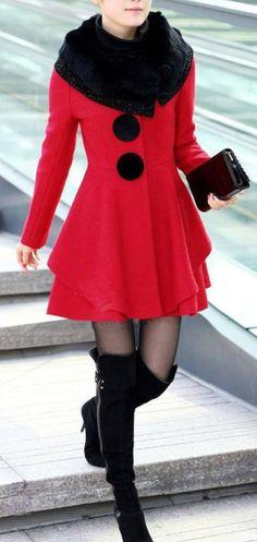 faux fur collared coat    dresslily.com wonderful dress preview christmas time Instagram #models #fashion #socialmedia