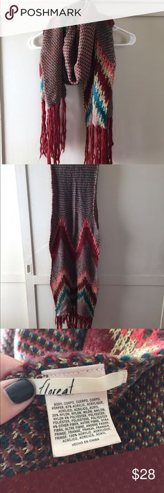 """Anthropologie Zigzag Scarf This """"Floreat"""" scarf is in excellent used condition and has only been worn a couple times! It is made of acrylic, nylon, and polyester. This scarf measures approx 72"""" in length and about 17"""" at its widest part, 12"""" at the smallest. Anthropologie Accessories Scarves & Wraps"""