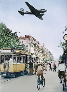 Berlin 1948 Strassenbahn der BVG und Rosinenbomber