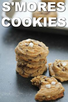These cookies have a graham cracker base and are filled with chocolate chips and mini marshmallows for the ultimate s'more inspired dessert! Smores Cookies, Cracker Cookies, Gourmet Recipes, Cookie Recipes, Dessert Recipes, Smore Cookie Recipe, Oven Recipes, Cookie Dough, Mini Marshmallows
