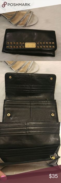 Badgley Mischka black leather gold studded wallet Well-loved but in good condition and still lots of life left! 16 card slots, 2 zippered pockets, 4 slip in slots. Badgley Mischka Bags Wallets