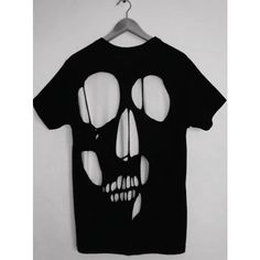 DIY tutorial Pleasure Principle inspired cut out skull t-shirt ❤ liked on Polyvore