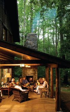Marvelous Rustic Outdoor Fireplace Designs For Your Barbecue Party is part of Rustic porch A fireplace may be great addition to a home Brick fireplace is also a great alternate to go for achiev - Rustic Outdoor Fireplaces, Outdoor Fireplace Designs, Rustic Patio, Rustic Porches, Cabin Porches, Rustic Wood, Rustic Decor, Outdoor Fireplace Patio, Cozy Patio