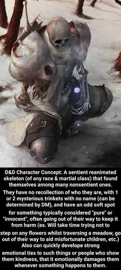 D&D Character Concept: A sentient reanimated skeleton (of any race & martial class) that found themselves among many nonsentient ones. They have no recollection of who they are, with 1 or 2 mysterious trinkets. Dungeons And Dragons Classes, Dungeons And Dragons Characters, Dungeons And Dragons Homebrew, D D Characters, Fantasy Characters, Male Character, Fantasy Character Design, Character Concept, Concept Art