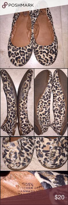 """Lucky Brand Cheetah Flats Lucky Brand Cheetah Flats in size 5.5 come preloved with lots of life left! Super cute leather """"Emmie"""" ballet style flats in a leopard print. So comfy and cute. The most wear is on the sides (see pics). Price reflected and price firm as I'm happy to keep and wear. My prices fluctuate from time to time. Catch items when the prices are low!❤️ Lucky Brand Shoes Flats & Loafers"""