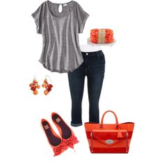 Orange and red- plus size, created by gchamama on Polyvore