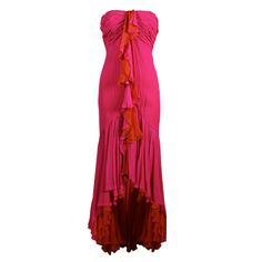 Bob Mackie Hot Pink and Orange Silk Chiffon Gown | From a collection of rare vintage evening dresses at http://www.1stdibs.com/fashion/clothing/evening-dresses/