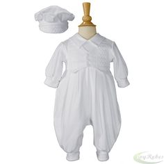 Christening outfit of long sleeve, long pant coverall