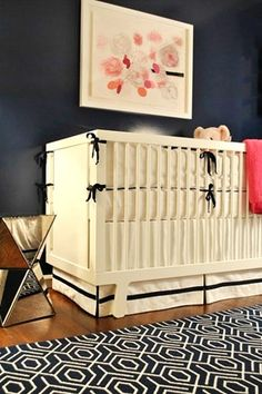 Pink and Navy Girl's Room...swoon!  I really need to find a place for navy in my home!