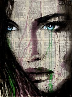 Buy Prints of beyond this, a Ink on Paper by LOUI JOVER from Australia. It portrays: Women, relevant to: jover, blue, woman, loui jover, contemporary, bookpages, face, new ink on vintage book pages adhered together to make one sheet ready for framing as desired