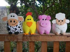 Farm Animal Crafts Animal Crafts For Kids Farm Crafts Vbs Crafts Easter Crafts Outdoor Spray Paint Cow Craft Farm Lessons Fall Projects Plastic Bottle Planter, Plastic Bottle Crafts, Recycle Plastic Bottles, Kids Crafts, Easter Crafts, Diy And Crafts, Farm Animal Crafts, Farm Animals, Farm Birthday