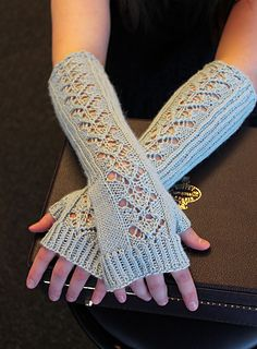 Cadenza Mitts by Merri Fromm Lacy knit fingerless gloves using your choice of Alpaca Silk or Metalico from Blue Sky Alpacas