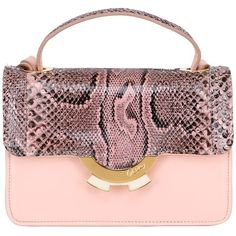 Patricia Al'kary Women Small Leather Bag With Python Details (2,334 CAD) ❤ liked on Polyvore featuring bags, handbags, shoulder bags, pink, leather shoulder handbags, pink handbags, leather handbags, python handbags and genuine leather purse