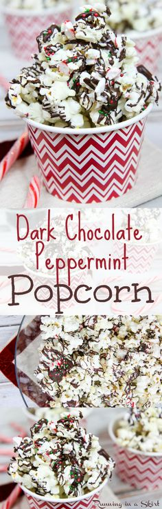 Healthy Dark Chocolate Peppermint Popcorn recipe!  The perfect treats, snacks, parties or holiday gift for the season.  Topped with candy canes for a fun bark recipe.  Make for your movie nights! / Running in a Skirt