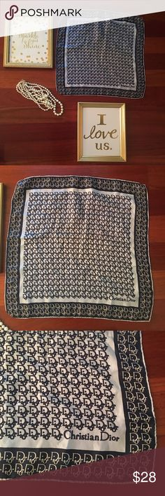 Christian Dior scarf Christian Dior Scarf navy blue and light bluish gray. In excellent condition. Beautiful scarf wear on bag or purse or on yourself! Very versatile! Christian Dior Accessories Scarves & Wraps