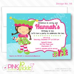Girl Elf Invitation-personalized invitation, photo card, photo invitation, digital, party invitation, birthday, shower, announcement, printable, print, diy, christmas, holiday, pink Personalised Party Invitations, Personalized Thank You Cards, Kids Birthday Party Invitations, Christmas Invitations, Photo Invitations, Digital Invitations, Printable Invitations, Birthday Party Themes, Invites