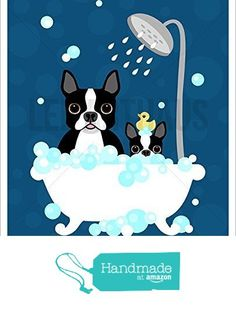 170D - Boston Terrier Dog and Puppy in Bubble Bath with Dark Blue Background UNFRAMED Wall Art Print by Lee ArtHaus from LeeArtHaus https://www.amazon.com/dp/B01DWGPE68/ref=hnd_sw_r_pi_dp_JguDybGNSSZ1X #handmadeatamazon