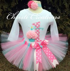 Baby Girl 1st Birthday Tutu Outfit - Aqua and Pink Tutu - Cake Smash Photo Prop by ChristiCreations on Etsy https://www.etsy.com/listing/220827423/baby-girl-1st-birthday-tutu-outfit-aqua