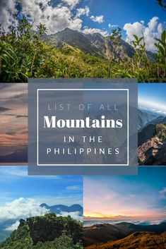 The Philippines is known for its beautiful natural resources. Some of those are its mountains. Here is the list of all the mountains in the Philippines! Mount Pinatubo, Taal Volcano, Tourism Department, Baguio City, Hiking Guide, Mountain Hiking, Philippines Travel, Day Hike, Top Of The World
