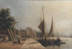 Antoine Lèon Morel-Fatio - Early Morning     Quayside, Le Havre