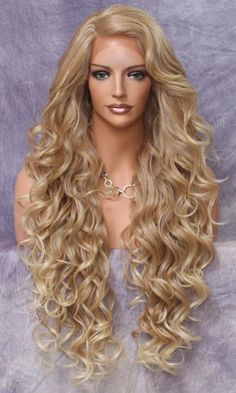 Extra long Human Hair BlendFull Lace Front wig Romantic curls and bangs Blonde mix natural mono side part Heat Safe Curly Wigs, Long Curly Hair, Curly Hair Styles, Natural Hair Styles, Frizzy Hair, Blonde Hair Dye Colors, Dyed Blonde Hair, Curly Blonde, Long Blonde Wig
