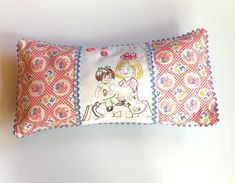 Excited to share this item from my #etsy shop: Handmade girls pillow case, pink kitten hand embroidered lumbar pillow cover, envelope style, blue gingham, 1940s reproduction fabric