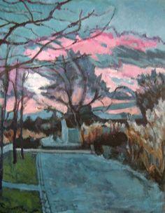 Parc de Bercy, décembre, fin d'après-midi (Painting),  46x61 cm par Barrie Peinture acrylique sur toile, paysage d'hiver