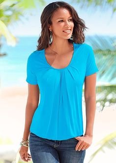 A basic that you have to have! Venus pleated top in gorgeous turquoise. Wear this and the options are unlimited!