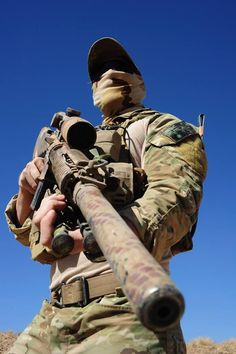 Australian sniper in Afghanistan with a suppressed SR-25