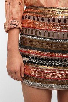 Hazel Silky Beaded Mini Skirt