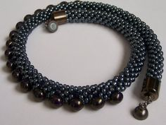 Bead crochet necklace. Choker. Luster grey seed by MilenasBoutique
