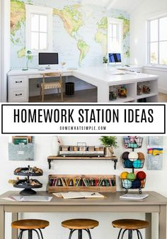 Homework Station Ideas – 10 Spaces We Love Set your kids up with some serious Back-to-School SUCCESS by making a special spot to study and complete their homework assignments! Here are 10 of our favorite homework station ideas you can create in your home! Kids Homework Room, Kids Homework Station, Kid Desk, Kids Desk Space, Homework Desk, Boys Desk, Kids Office, Home Office Space, Home Office Design