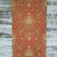 Waverly Classics York Wallcoverings rich red background amazing pattern in copper, chestnut brown, butter cream, caramel, gray-green. Wallpaper Fireplace, Damask Wallpaper, Red Background, Green And Grey, Vintage Antiques, Bohemian Rug, Home Improvement, Guilty Pleasure, Pattern