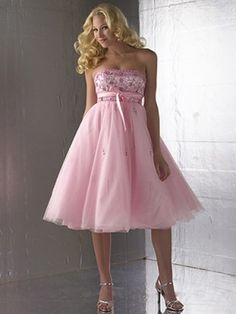 Pink Empire Waist Embroidery Organza Homecoming Dress
