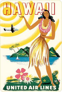 United airlines Hawaii vintage poster