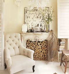 Fireplace Filled With Wood.build faux mantle and fill with wood (for current dining room) Faux Foyer, Faux Mantle, Fake Fireplace, Vintage Fireplace, Fireplace Mantles, Fireplace Mirror, Bedroom Fireplace, Fireplace Ideas, Diy Home Decor