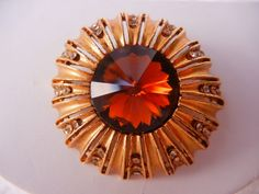 COUPON SALE Stunning Pin Gold Tone & Amber by GailsGreatGoodies
