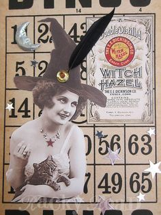 Halloween Witch on Altered Bingo Card Hanging by RackyRoad on Etsy Halloween Bingo Cards, Halloween Art, Vintage Halloween, Halloween Decorations, Bingo Night, Scary Witch, The Worst Witch, Fall Diy, Scrapbook Cards