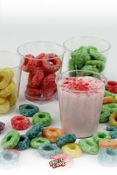 Froot Loops Milk Shooters  Combine milk and Froot Loops cereal in a blender. Give 'em a whirl, and serve them to your kids as fruity, frothy, colorful shooters