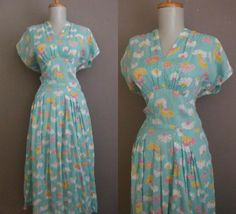 Vintage 40s Aqua Daisy Shelf Bust Dress - VTG 1940s USO Big Band Era Atomic Sheer Voile Swing Garden Party Dance Frock. 0, via Etsy.