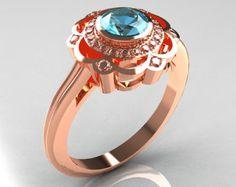 Classic 14K Rose Gold Diamond Aquamarine Bridal Ring by artmasters