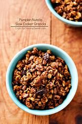 Nutella Pumpkin slow cooker granola. Yep, that's right. Slow cooker!