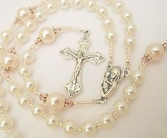 Baptism Rosary for a Baby Girl - Pink