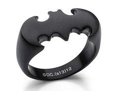 Batman Ring In Matte Black Stainless Steel Batman Ring, Im Batman, Batman Stuff, Black Batman, Batman Shoes, Batman Car, Batman Outfits, Batman Wedding Rings, Batman Silhouette
