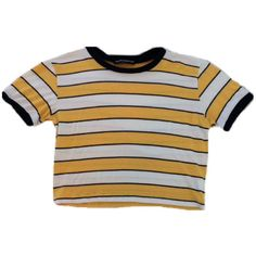 crop striped yellow ringer tee ❤ liked on Polyvore featuring tops, t-shirts, crop top, shirts, yellow striped t shirt, striped crop top, yellow crop top and striped tee