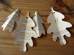 diddle dumpling: Tutorial: Book Page Fall Leaf Garland-may do with Christmas trees or bells Book Page Crafts, Book Page Art, Book Pages, Book Art, Moana Party, Fall Crafts, Diy And Crafts, Paper Crafts, Paper Art