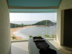 View of the Pacific Ocean from a spa treatment room at Secrets Huatulco http://www.moretimetotravel.com/inside-secrets-huatulco-resort-spa/