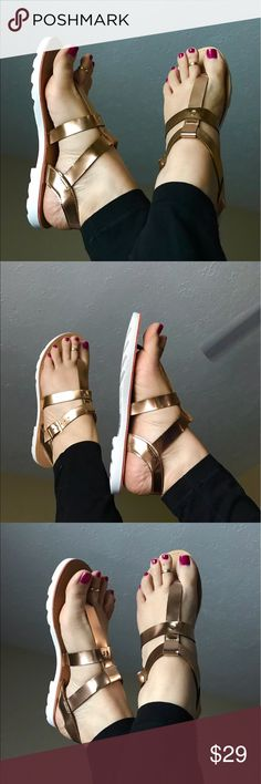 🏆HOST PICK🏆Rose Gold Sandals Silver straps. White traction outsole. ⚠️FIT RUNS HALF SIZE SMALL⚠️ Man made materials. As with all merchandise, seller not responsible for fit nor comfort. Brand new boutique retail w/o tag. No trades.   ⭐️ALSO AVAILABLE IN SILVER⭐️  ❗️PRICE IS FIRM UNLESS BUNDLED❗️ Leoninus Shoes Sandals