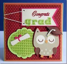 Graduation Card using Cricut and Imaginisce pattern paper, American Crafts Carstock, Twinery twine Cricut Cards, Stampin Up Cards, Graduation Cards Handmade, Graduation Ideas, Graduation Gifts, Graduation Scrapbook, Create A Critter, Owl Card, Scrapbook Cards